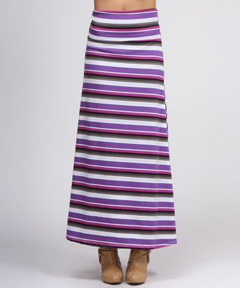 Purple & Gray Stripe Maxi Skirt