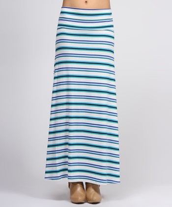 Blue & White Stripe Maxi Skirt