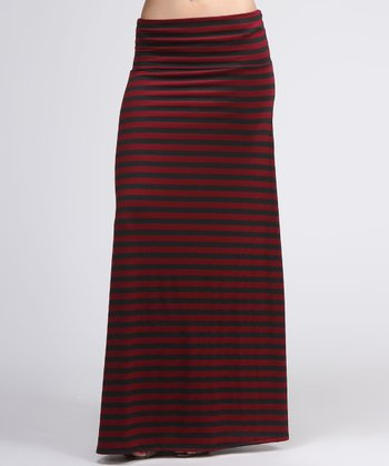 Maroon & Black Stripe Maxi Skirt