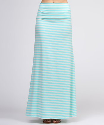 White & Mint Stripe Maxi Skirt