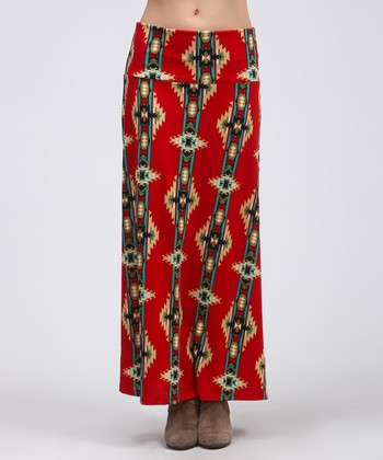Red & Taupe Tribal Maxi Skirt