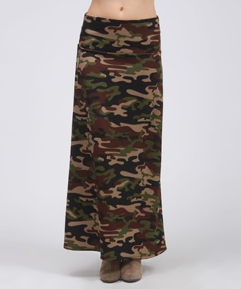 Brown Camouflage Maxi Skirt
