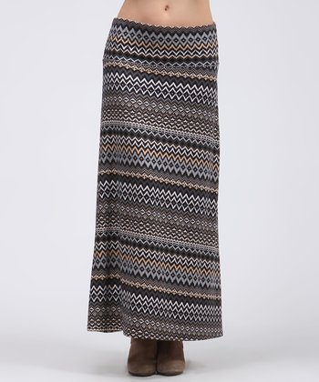 Black & Ivory Tribal Maxi Skirt