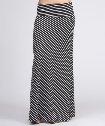 Black & White Diagonal Stripe Maxi Skirt