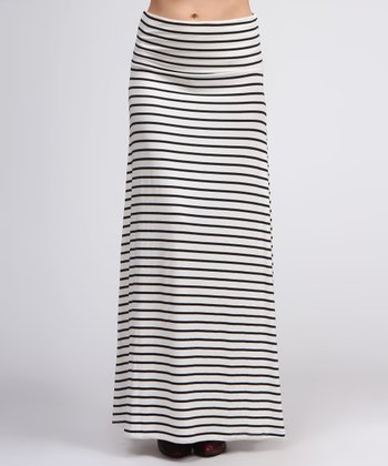 Ivory & Black Stripe Maxi Skirt