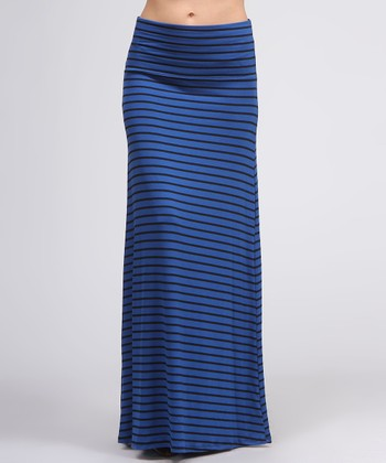 Royal Blue & Black Stripe Maxi Skirt