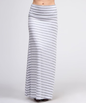 White & Gray Stripe Maxi Skirt