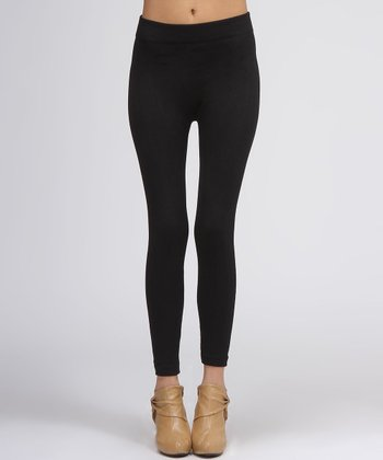 Black Cable-Knit Leggings