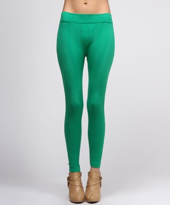 Green Cable-Knit Leggings