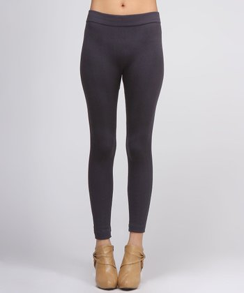 Gray Cable-Knit Leggings