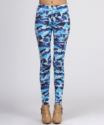 Blue Camouflage Leggings