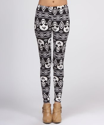 Black Skull Fair Isle Leggings