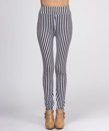 Black & White Vertical Stripe Leggings