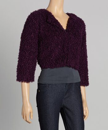 Plum Faux Fur Shrug