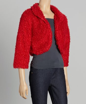 Red Faux Fur Shrug