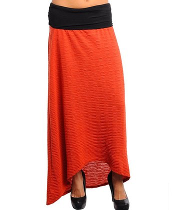 Rust Textured Hi-Low Skirt - Women