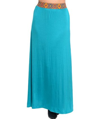 Emerald Tribal-Accent Maxi Skirt - Women