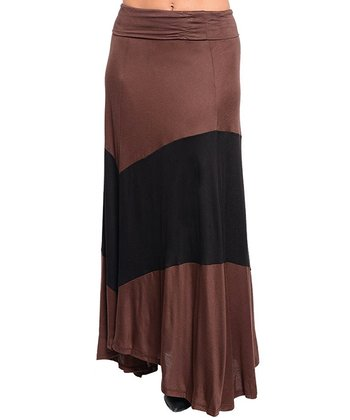 Brown & Black Thick Stripe Maxi Skirt - Women