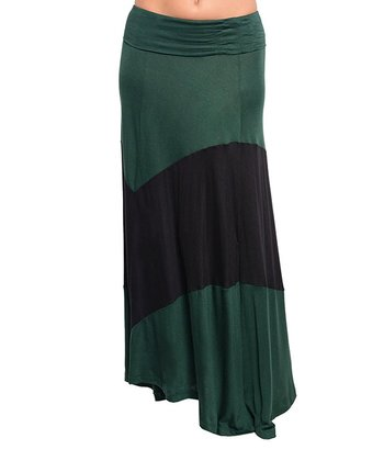 Green & Black Thick Stripe Maxi Skirt - Women