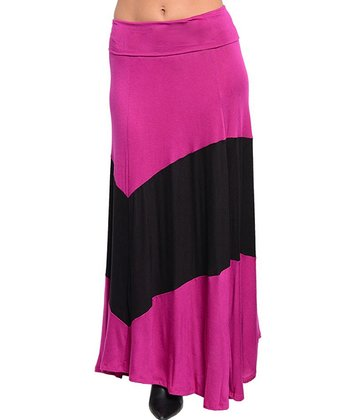 Fuchsia & Black Thick Stripe Maxi Skirt
