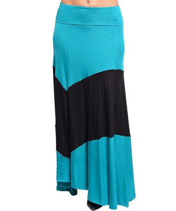 Blue & Black Thick Stripe Maxi Skirt - Women