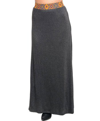 Gray Pattern-Waist Maxi Skirt