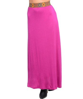 Fuchsia Tribal-Accent Maxi Skirt
