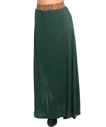 Green Pattern-Waist Maxi Skirt
