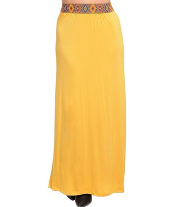 Mustard Pattern-Waist Maxi Skirt - Women