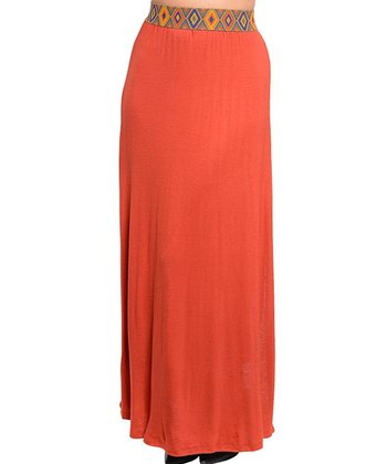 Brick Pattern-Waist Maxi Skirt - Women