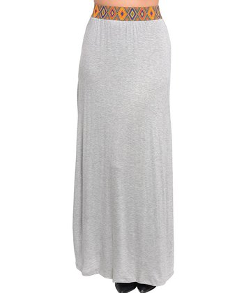 Light Gray Pattern-Waist Maxi Skirt - Women