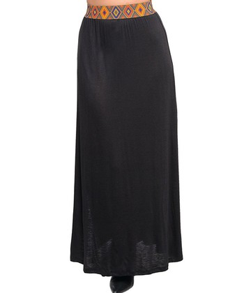 Black Tribal-Accent Maxi Skirt