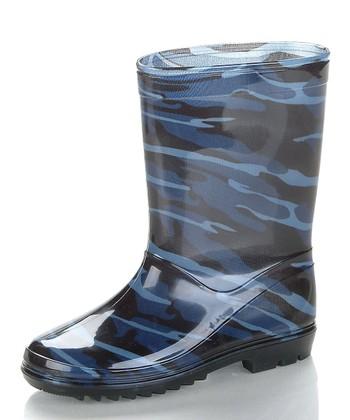Blue & Black Camosion Rain Boot