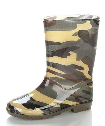 Green & Brown Camosion Rain Boot