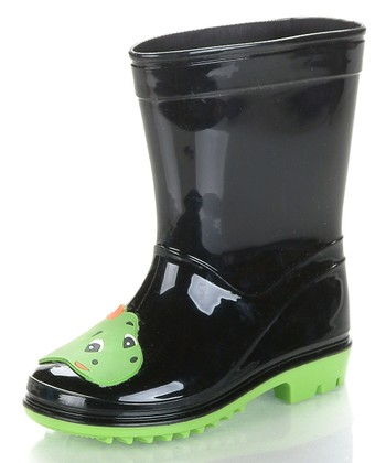 Black & Neon Green Dinoya Rain Boot