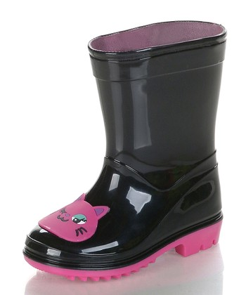 Black & Pink Kitty Rain Boot