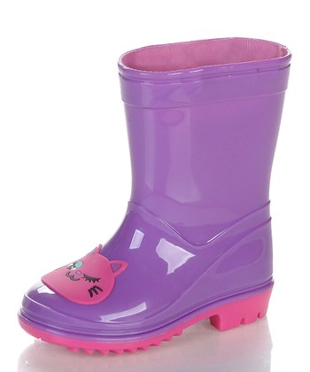 Purple & Pink Kitty Rain Boot