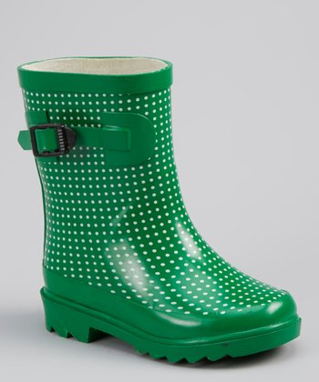 Green & White Polka Dot Rain Boot