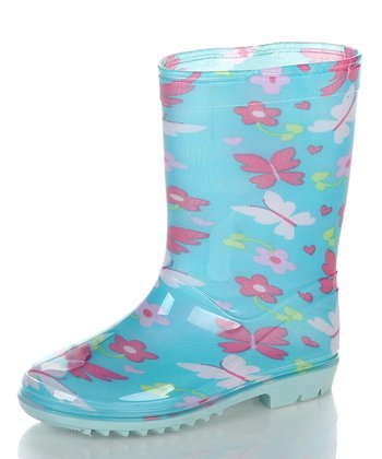 Blue & White Flower Rain Boot