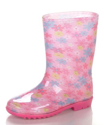 Pink & White Flower Rain Boot
