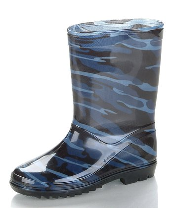 Blue & Black Camo Rain Boot