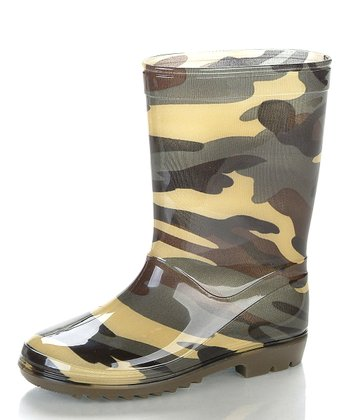 Green & Brown Camo Rain Boot