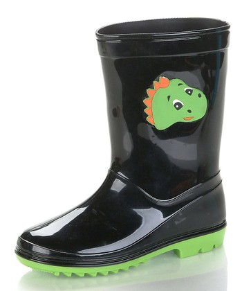 Black & Neon Green Dino Rain Boot