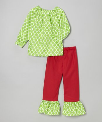 Lime Quatrefoil Tunic & Ruffle Leggings - Toddler & Girls