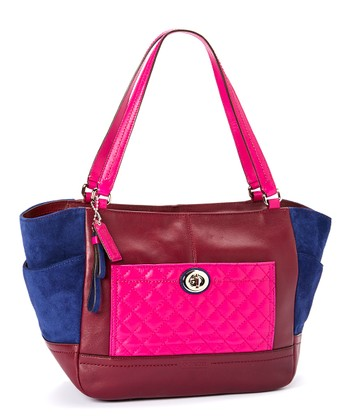 Coach Pink  Blue Leather Quilted Color Block Carrie Tote
