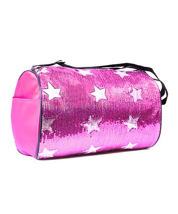 Fuchsia Sequin Star Duffel Bag