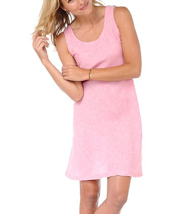 Pink Linen Sheath Dress