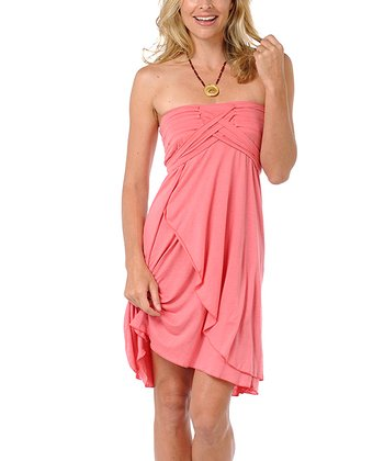 Pink Metamorphose Linen-Blend Strapless Dress