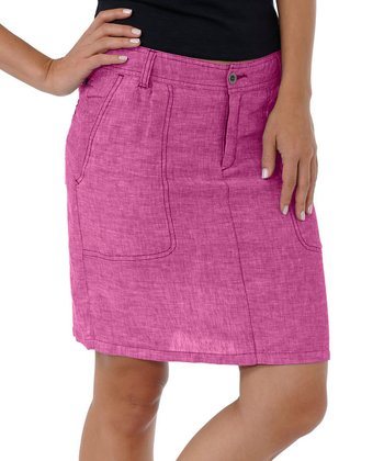 Bright Pink Lithe Venti Linen Skirt