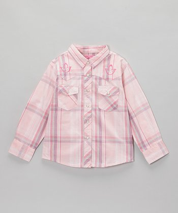 Pink Plaid Emblem Button-Up - Infant & Toddler
